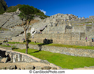 Unusual view of Machu Picchu terraces