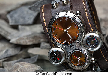 unusual watches with several dials and leather bracelet