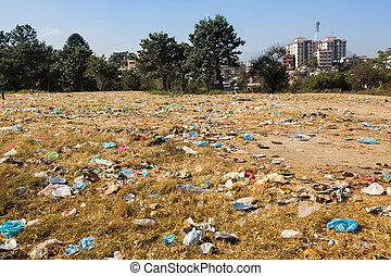 unverseucht, landschaftsbild, in, nepal., umwelt, pollution.