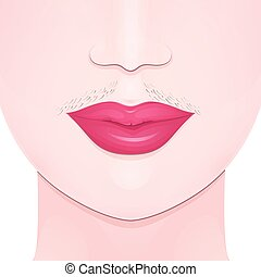 unwanted facial hair - mustache on the upper lip of the...