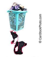 unwashed cloth in basket - unwashed cloth in the basket on ...