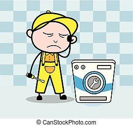 Unwell Serviceman - Retro Repairman Cartoon Worker Vector...