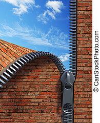 unzip brick wall - 3d rendering of the unzipping wall