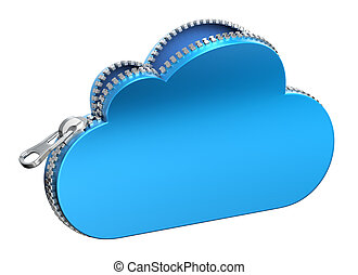 Unzipped 3d cloud icon isolated on white background