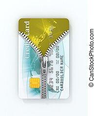unzipped credit card 3d concept