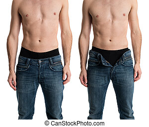 Unzipped - Shirtless man with jeans zipped and unzipped.