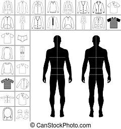 uomini, abbigliamento, set