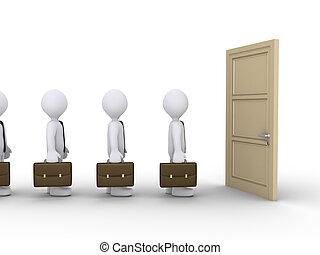 uomini affari, ara, attesa, per, il, porta, aprire