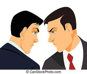 uomini affari, confronto, due