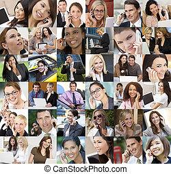 uomini affari, donne, comunicazioni, fili, mobile, tecnologia
