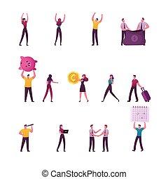 uomini affari, enorme, dollaro, sacco, affari, banca, presa a terra, segno, cartone animato, sguardo, vettore, piggy, illustrazione, soldi, tremante, raccogliere, maschio, set, spyglass., caratteri, femmina, persone, guadagnare, mani