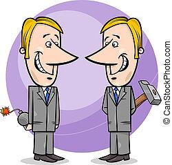 uomini affari, falso, cartone animato, due