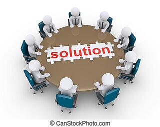 uomini affari, in, uno, riunione, trovare, il, soluzione