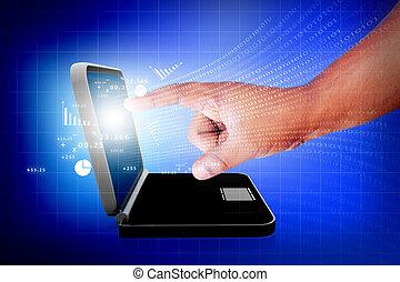 uomini affari, mano, schermo tocco, grafico, su, uno, laptop