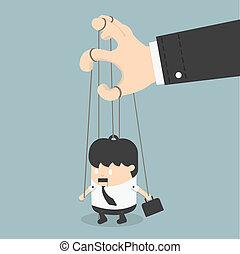 uomini affari, marionetta