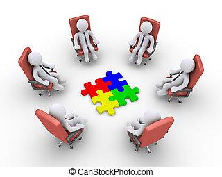 uomini affari, sedendo sedie, e, confondere pezzi