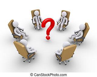 uomini affari, sedendo sedie, e, uno, punto interrogativo