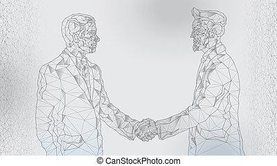 uomini affari, stretta di mano, immagine, astratto, due, riunione, fra