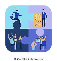 uomini affari, vettore, collaborazione, caratteri, idee, concept., riuscito, lavoro squadra, appartamento, realizzazione, illustration.