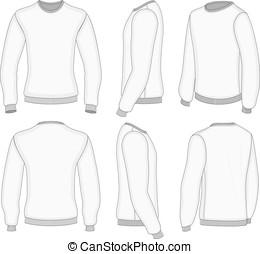 uomini, bianco, manica lunga, t-shirt.