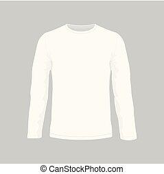 uomini, bianco, manica lunga, t-shirt