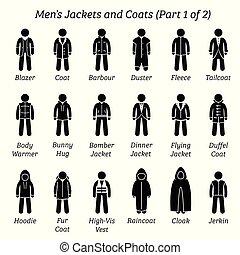 uomini, coats., giacche