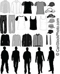 uomini, collezione, vettore, lavoro, vestire