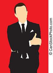 uomini, completo, silhouette