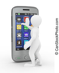 uomini, con, mobile, telefono., 3d