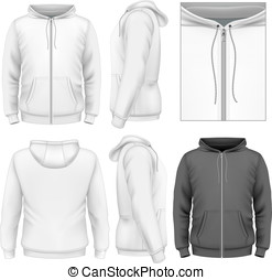 uomini, disegno, chiusura lampo, hoodie, sagoma