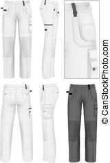 uomini, disegno, lavorativo, sagoma, pantaloni