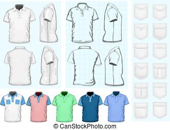 uomini, disegno, polo-shirt, sagoma