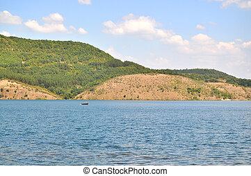 uomini, due, barca, lago
