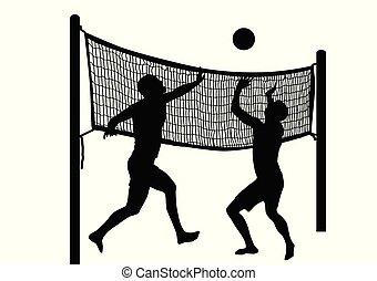 uomini, due, pallavolo, silhouette, spiaggia, gioco
