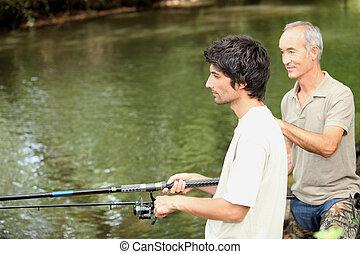 uomini, due, pesca
