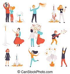uomini, esplosione, osservare, set, fireworks, persone, illustrazione, vacanze, festeggiare, vettore, razzi, fondo, bianco, firework, lancio, donne