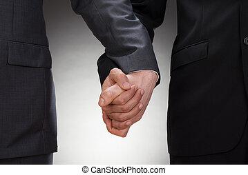 uomini, gaio, tenere mani