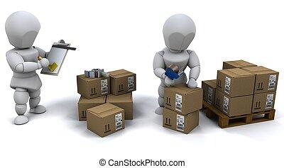 uomini, imballaggio, scatole, per, spedizione