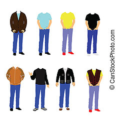 uomini, indossare, casuale