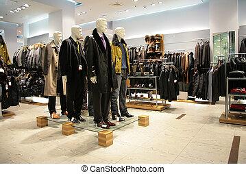 uomini, indossatrici, in, negozio