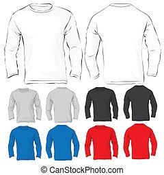uomini, lungo, sleeved, t-shirt, sagoma, in, molti, colorare