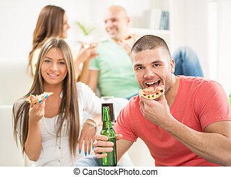 uomini, mangiare, giovane, pizza