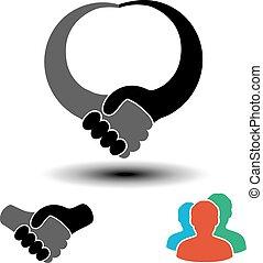 uomini, membri, segno, stretta di mano, simbolo, sociale, partnership., circolare, comunità, network., meglio, vettore, utenti, simbolo., o, semplice, profilo, silhouette, gesture., etichetta, labels.