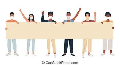 uomini, miscelare, vuoto, corsa, parte, o, manifestazione, gruppo, maschera, rally, femmina, protest., presa a terra, respiratorio, banner., standing, maschio giovane, insieme, multicultural, presa, persone, protesters., donne