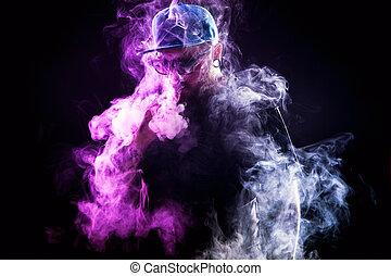 uomini, nuvola, vapor., barba, vaping, distribuzioni, ...