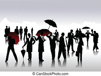 uomini, ombrello, silhouette, donne