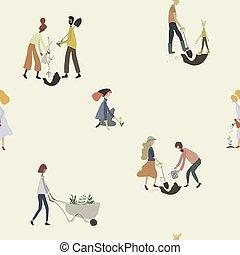 uomini, persone, lattina, seamless, donne, pala, irrigazione, modello, carriola, tools:, piante, gardening.