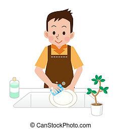 uomini, piatti, lavare