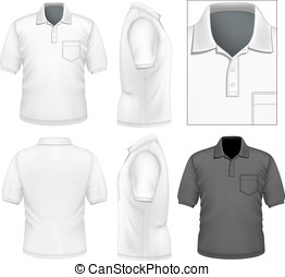 uomini, polo-shirt, disegno, sagoma