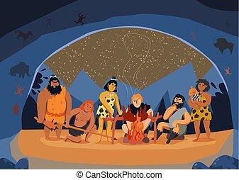 uomini, primitivo, illustrazione